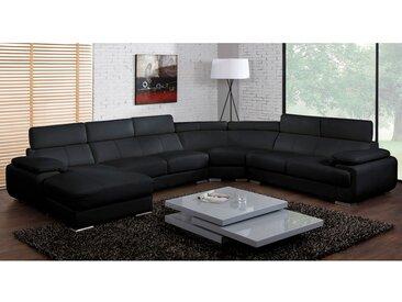 Canapé panoramique 7 places en cuir ELEVANTO - Noir - Angle gauche