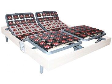 Sommier électrique de relaxation 2x91 plots déco bois blanc de DREAMEA - 2x100x200cm  - moteurs OKIN