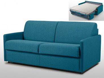 Canapé 3 places convertible express en tissu CALIFE - Turquoise - Couchage 140 cm - Matelas 14cm