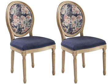 Lot de 2 chaises LOUIS XVI - Tissu effet velours - Motif Fleurs - Bleu nuit