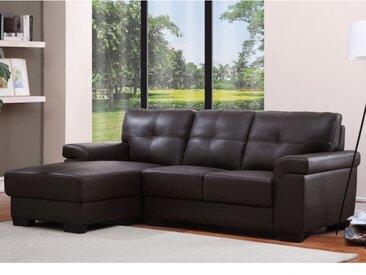Canapé d'angle en cuir HAZEL - Marron - Angle gauche