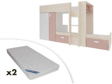 Lits superposés JULIEN - 2x90x190cm - Armoire intégrée - Blanc et rose poudré + 2 matelas ZEUS 90x190