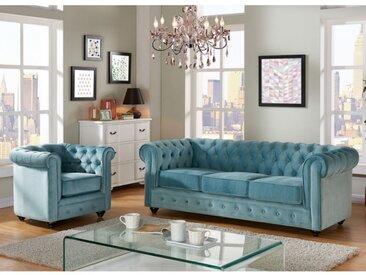 Canapé 3 places et fauteuil CHESTERFIELD - Velours bleu pastel