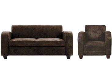 Canapé 2/3 places et fauteuil club en microfibre aspect cuir vieilli MADIE - Marron
