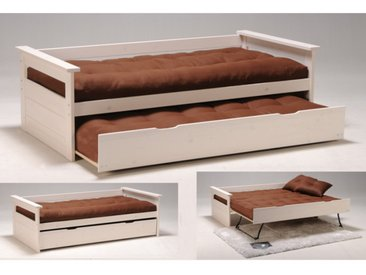 Lit gigogne banquette ALFONSO - 90x190cm - Sapin blanchi