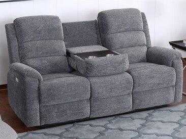 Canapé 3 places relax électrique en tissu avec tablette NEVERSI  - Anthracite