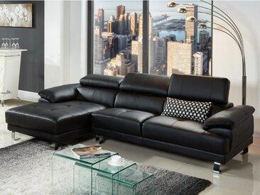 Canapé d'angle en cuir EXCELSIOR II - Noir - Angle gauche
