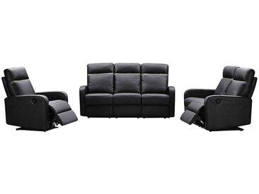 Canapé 3+2+1 places relax électrique en cuir ABERDEEN - Noir et bande anthracite