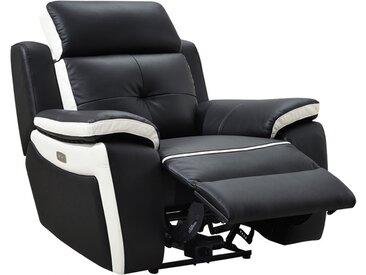 Fauteuil relax électrique en cuir ANGELIQUE - Noir/blanc