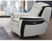 Fauteuil relax électrique en cuir ANGELIQUE - Blanc/anthracite