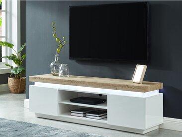 Meuble TV HALO II - 2 portes - MDF laqué - Avec LEDs - Blanc et chêne