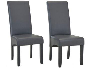Lot de 2 chaises ROVIGO - Simili gris mat - Pieds bois noir