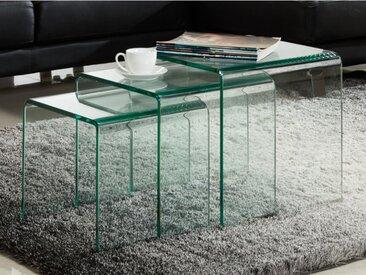 Lot de 3 tables basses gigognes MINKA - Verre courbé