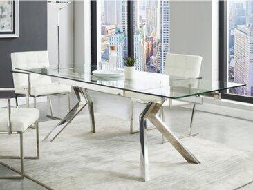 Table à manger extensible VELIKA - Verre trempé & métal -  6 à 8 couverts