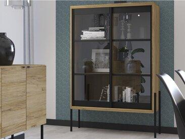 Vitrine industrielle MEMPHIS - 2 portes coulissantes en verre - Coloris : Chêne et noir
