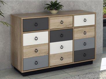 Commode KRYPTON - 3 tiroirs et 3 portes - Coloris : chêne, blanc et gris