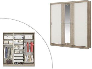 Armoire DIDDA - 3 portes coulissantes - Avec miroir - L205cm - Chêne et ivoire