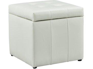 Pouf coffre de rangement SERAFINO en simili - Blanc