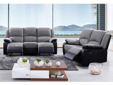 Canapé 3+2 places relax en microfibre et simili  BILSTON II - Gris et noir