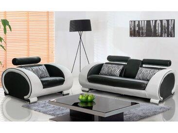 Canapé 3+1 en simili HELIADES - Assise noire, tour de caisse ivoire