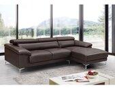 Canapé d'angle en cuir SOLANGE - Marron - Angle droit