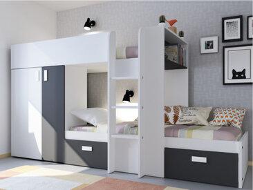Lits superposés JULIEN - 2x90x190cm - Armoire intégrée - Blanc et noir