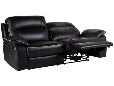 Canapé 3 places relax électrique en cuir CATANE - Noir et passepoil gris clair