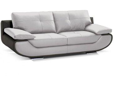 Canapé 2 places cuir luxe ORGULLOSA - Bicolore gris et anthracite