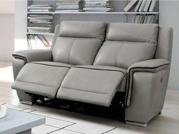 Canapé 2 places relax électrique PAOSA en cuir - Gris passepoil anthracite