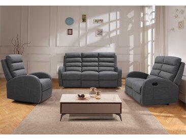 Canapé 3 places relax en tissu GIORGIA - Gris