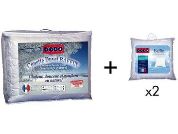 Pack DODO couette naturelle 240 x 260 cm + 2 oreillers Duvet BAFFIN 65 x 65 cm