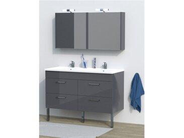 Ensemble SETA - Meuble de salle de bain double vasque - Gris laqué