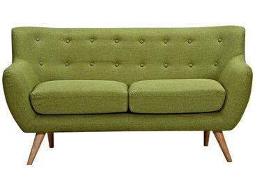 Canapé 2 places en tissu SERTI - Vert prairie avec boutons déco assortis