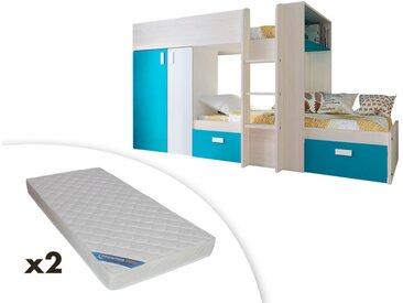Lits superposés JULIEN - 2x90x190cm - Armoire intégrée - Blanc et bleu + 2 matelas ZEUS 90x190