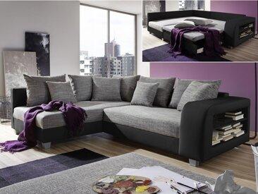 Canapé d'angle convertible tissu et simili KUOPIO - Gris et noir - Angle gauche