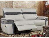 Canapé 3 places relax en simili et microfibre MERCUTIO - Gris clair et bandes anthracites