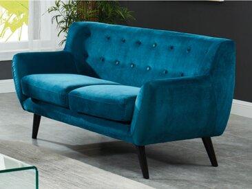 Canapé 2 places en velours SERTI - Bleu canard