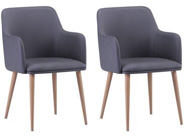 Lot de 2 chaises avec accoudoirs SENCIL - Simili - Gris