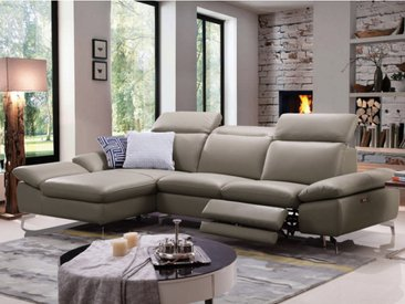 Canapé d'angle relax électrique en cuir de buffle MARSALA - Taupe - Angle gauche