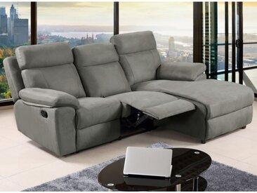 Canapé d'angle relax en tissu ARTUKI - Gris - Angle droit