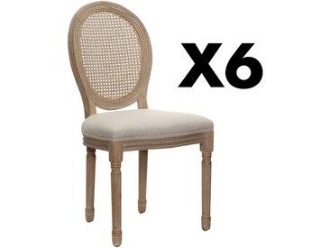 Lot de 6 chaises MARIE-ANTOINETTE en cannage - Tissu & Bois d'Hévéa - Beige