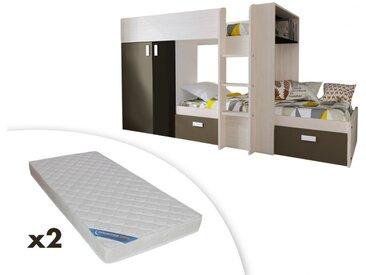 Lits superposés JULIEN - 2x90x190cm - Armoire intégrée - Pin blanc et marron + 2 matelas ZEUS 90x190
