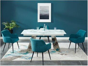 Lot de 2 chaises HEKA - Avec accoudoirs - Tissu et métal - Bleu