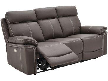 Canapé 3 places relax électrique en cuir ISIRIS - Marron