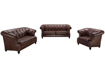 Canapé 3+2+1 places Chesterfield AQUITAINE en microfibre aspect cuir vieilli - Chocolat