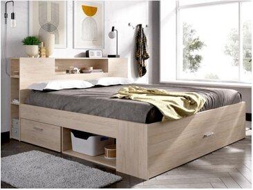 Lit LEANDRE avec tête de lit rangements et tiroirs - 140x190 cm - Coloris : Chêne