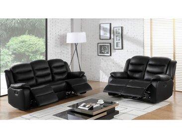 Canapé 3+2 places relax en cuir de buffle PLITON - Noir