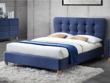 Lit ELIDE tête de lit capitonnée - Tissu bleu - 140*190cm