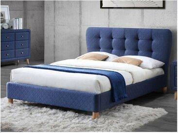Lit ELIDE tête de lit capitonnée - Tissu bleu - 140 x 190 cm