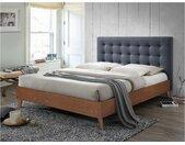 Lit FRANCESCO tête de lit capitonnée - 140x190cm - Tissu gris